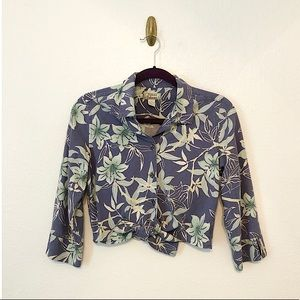 Tommy Bahama Cropped Tropical Print Button Down